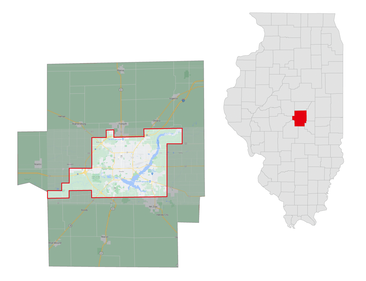 Coverage Map of Macon County, Illinois